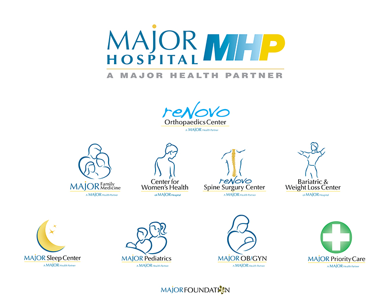 """Major Health Partners (MHP) - MEK completely transformed an outdated healthcare logo with a new name and sophisticated brand look for a $100 million nationally ranked healthcare operation, including the new tag: """"Experience the Major Difference."""" MEK's creative team then rebranded all of MHP's related practice groups and ancillary facilities into a cohesive name, look and feel."""